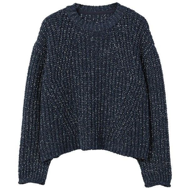 Flecked Cotton-Blend Sweater (1,110 HNL) ❤ liked on Polyvore featuring tops, sweaters, blue long sleeve top, cable sweaters, mango tops, blue cable knit sweater and long sleeve tops