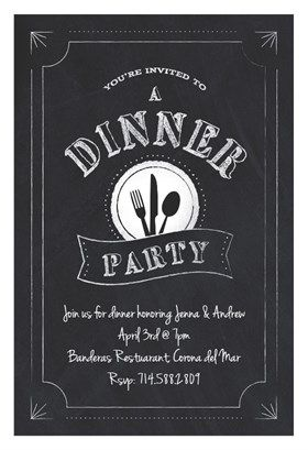 """Chalk Board Dinner Party"" printable invitation. Customize, add text and photos. print for free! #free printable invitation #template"