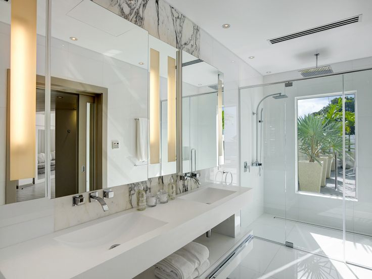 apaiser's refined elegance sets the scene in Kelly Hoppen MBE's Caribbean paradise | pictured here is apaiser's Scoop double vanity which can be customised to various lengths. www.apaiser.com