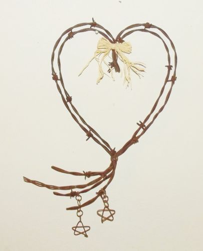 Barbed wire heart with stars Love Valentine rustic wedding wall art decor.