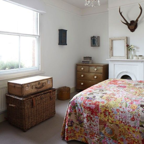 Vintage white country bedroom | Eclectic decorating ideas | Ideal Home | Housetohome.co.uk