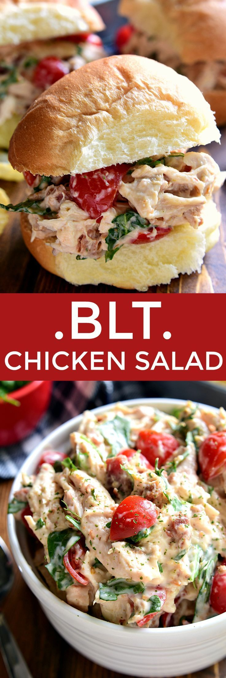 This BLT Chicken Salad combines all the flavors of BLT's in a creamy chicken salad. トリ胸肉(コンビニチキン可)、レタス、トマトその他、マヨとマスタード&チーズスプレッドとパンでどうぞ。