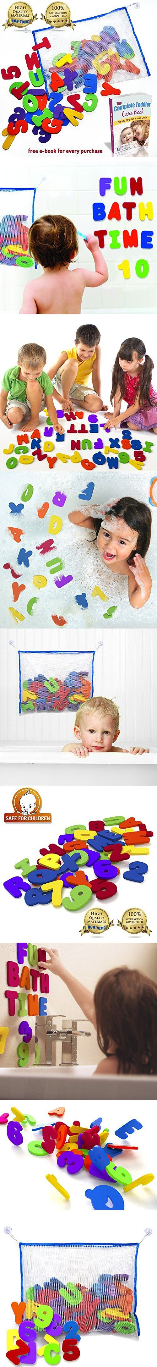 Bath Letters And Numbers With Bath Toy Organizer. The Best Educational Bath Toys with Premium Bath Toy Storage and Non Toxic BPA Free Foam Letters. Perfect Gift With Bonus Toddler Care Guide E-Book