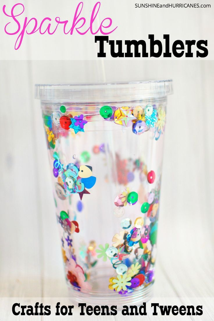 Do you have a creative tween and teens who has always loved crafts, but needs something a little more grown-up to make? These sparkle tumbers are the perfect crafts for teens and teens. They can personalize them to their own tastes with lots of different sparkles and glitter to choose from and then they are perfect for their busy lives on the go. Crafts for Teens and Tweens Sparkle Tumblers. SunshineandHurricanes.com