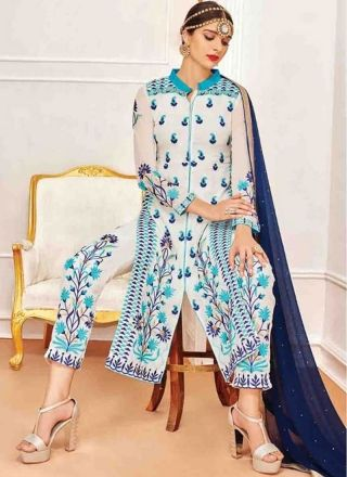 White Blue Embroidery Work Georgette Chiffon Designer Wedding Pakistani Suit http://www.angelnx.com/Salwar-Kameez/Pakistani-Suits