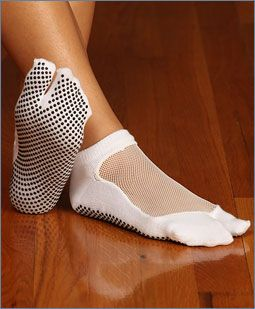 Shashi brand Pilates grip socks.  I prefer no touchy, touchy when it comes to feet.  Sanitary, safe, and sweat free (well almost).