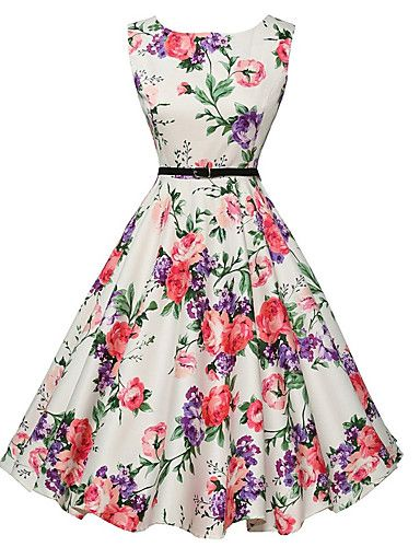 Women's Vintage A Line / Skater Dress,Floral Round Neck Knee-length Sleeveless White Polyester Summer Mid Rise 4976390 2017 – $10.99