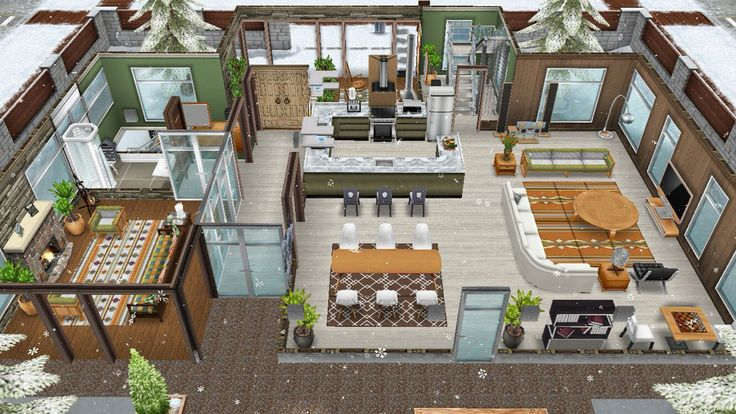 The Jones family winter vacation cabin - Rear view of the main floor - in my Sims Freeplay