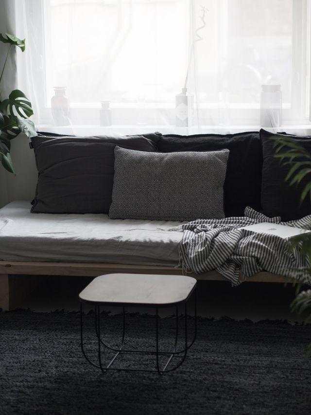 new rug (broste copenhagen nor) and sofa table (menu fuwl cage)