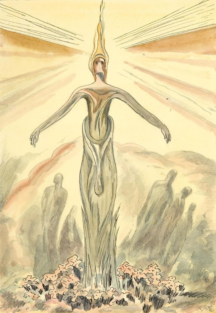 The Cabinet of the Solar Plexus: Jan Konůpek (1883-1950)...Mystical Phenomena, drawing 1948