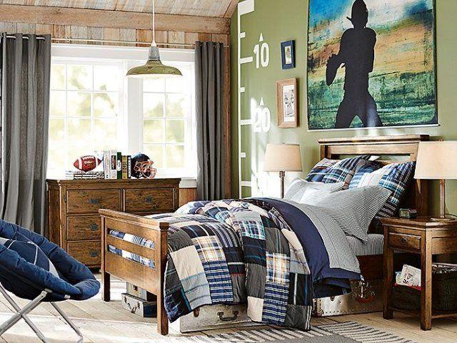 amenagement-chambre-ado-garçon-poster-foot-américain-commode-couette-patchwork aménagement chambre ado