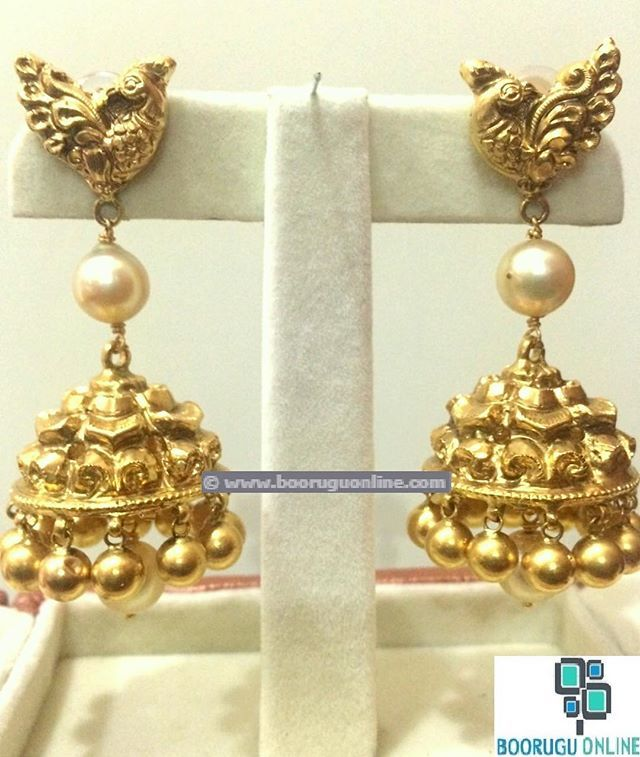 Traditional peacock buttalu (earrings) with south sea pearls Product Code…