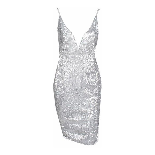 Glamour Addict Silver Sequin Spaghetti Strap Plunge V Backless Bodycon... ($128) ❤ liked on Polyvore featuring dresses, body con dress, short sequin dress, short dresses, sequin bodycon dress and backless bodycon dress