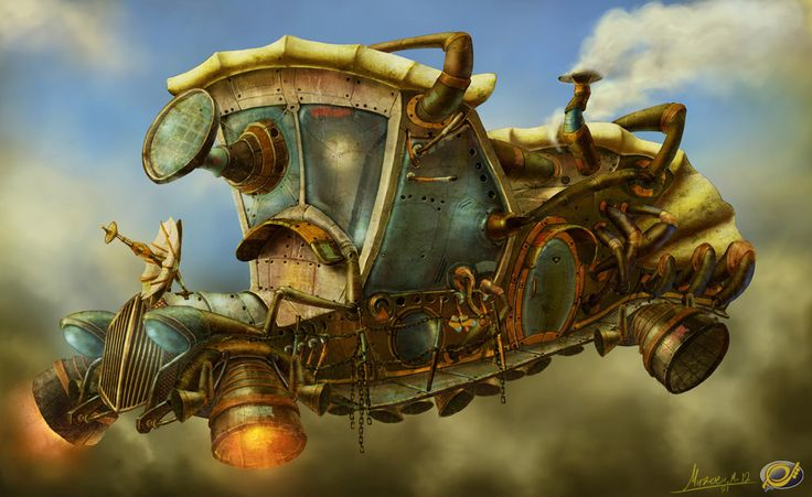 From Earth Game Concept Picture  (2d, fantasy, airship, game art)