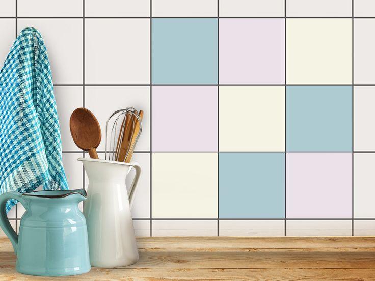 Fliesenaufkleber / Fliesenspiegel - Set: Samtfarben (9 St.)