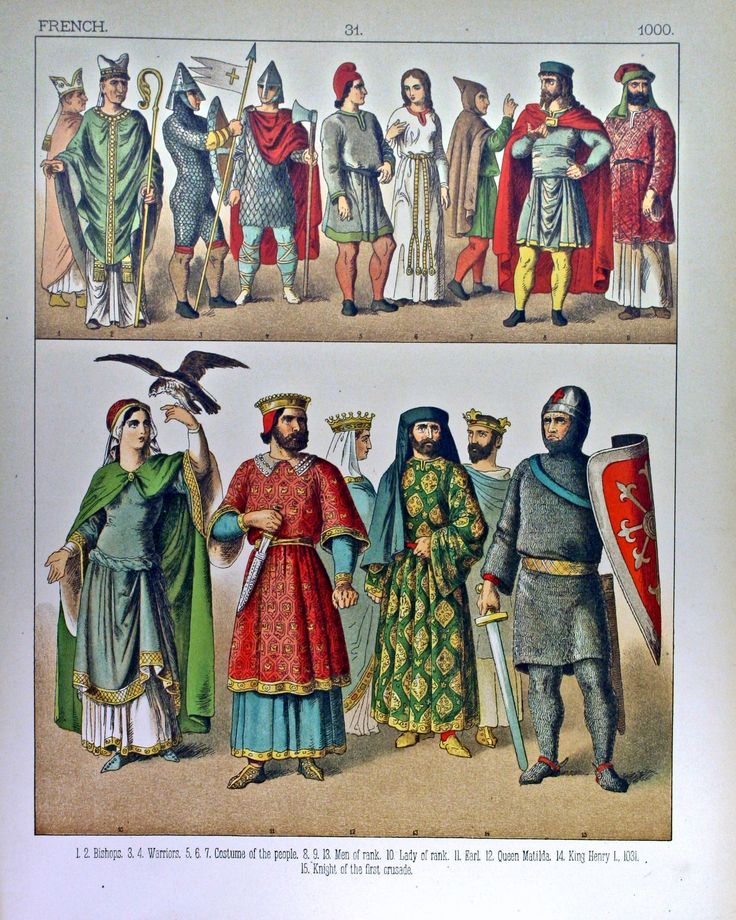Plate from Costumes of All Nations depicting French styles AD 1000  http://www.kendallredburn.com/images/costumesofallnations/IMG_4037b.jpg