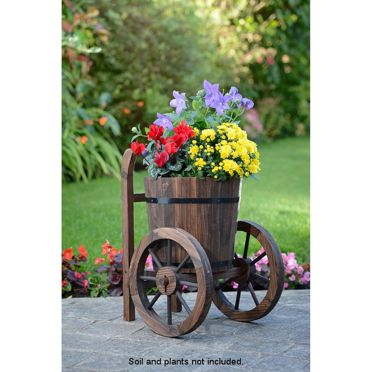 Wooden two wheel barrel planter garden ideas for Wooden barrel planter ideas