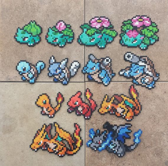 Gen I Starters Pokemon Perler Bead Sprites by MaddogsCreations