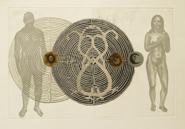 "Rust-en-Vrede Gallery – ART EXCHANGE: MEXICO - Participating SA Artist Judy Woodborne - ""In Search of Other II"" Etching with Chine Colè"