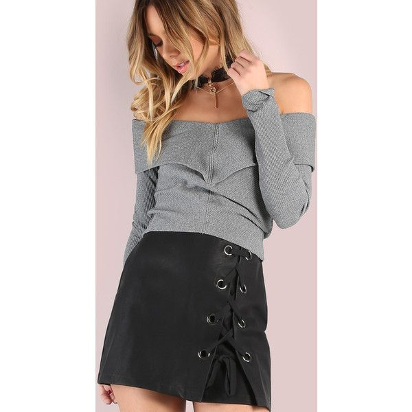Long Sleeve Bardot Rib Knit Crop Top HEATHER GREY ($19) ❤ liked on Polyvore featuring tops, grey, off shoulder tops, off shoulder crop top, long sleeve crop top, long sleeve shirts and grey long sleeve shirt