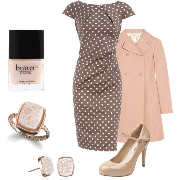 Taupe & Polka Dot Accented with Pink, created by chelsea-helton.po...polka dots <3