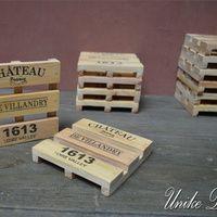 Tatakan Gelas unik model Palet WC 004 Set isi 6 Pcs, Ukuran : 9.5 x 9.5 x 1.8 Cm #woodcoaster #unikedekor