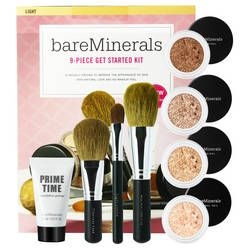 Get Started Kit bareMinerals®     Questo kit contiene:  - due Fondotinta Original SPF15 (2 g)  - un Effet Bonne Mine Warmth (1,2 g)  - una Finish Powder Mineral Veil®Original o una Finish Powder Mineral Veil® Colorata (3 g)  - una Base Fondotinta Prime Time (15 ml)  - un Pennello Applicazione Zero Difetti Grande  - un Pennello Applicazione Zero Difetti  - un Pennello Massima Coprenza Antiocchiaie o un Pennello Tocco Leggero  - e un DVD Get Started corredato di opuscolo