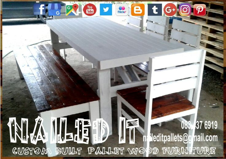 Custom built Pallet wood 8 Seater  Dining room  Bench & Chair set. 1 x Table, 5 x Backrest chairs & 1 x 3 seater bench. #naileditcustombuiltpalletfurniture #palletwoodfurnituredurban #palletfurnituredurban #palletfurniture #palletchair #palletbench #custompalletfurnituredurban #custompalletfurniture