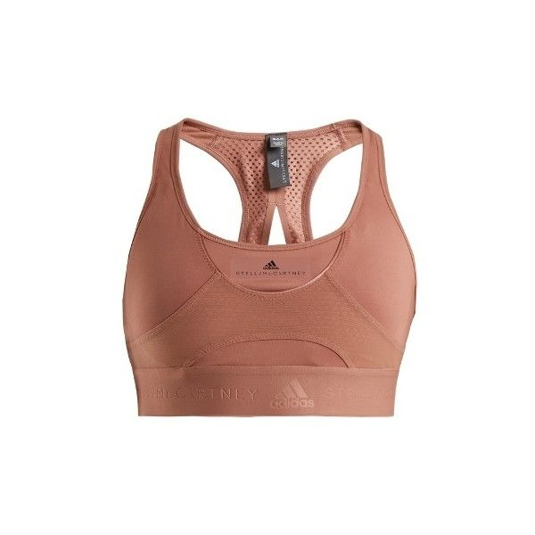 Adidas By Stella McCartney Hit performance bra ($58) ❤ liked on Polyvore featuring activewear, sports bras, nude, adidas sportswear, adidas, racer back sports bra, cut out sports bra and adidas activewear