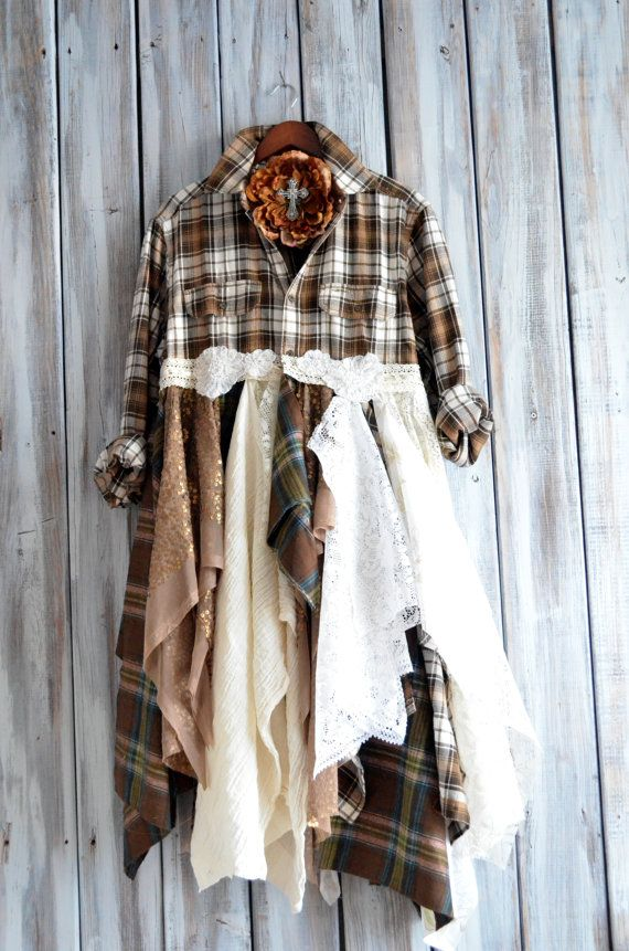 Romantic women's clothing, Flannel jacket, Pretty steam punk duster dress, Country chic, Autumn coat dress, Dresses, True rebel clothing