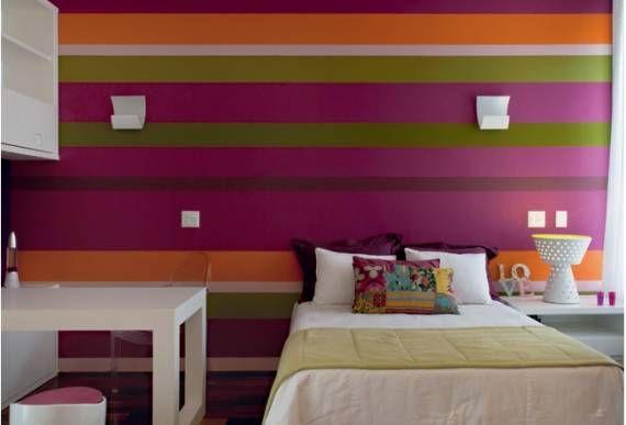 Fotos de quartos de solteiro com papel de parede listrado