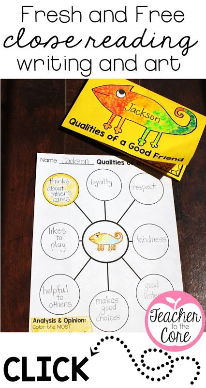 Close reading art and writing freebies for the book A Color Of His Own