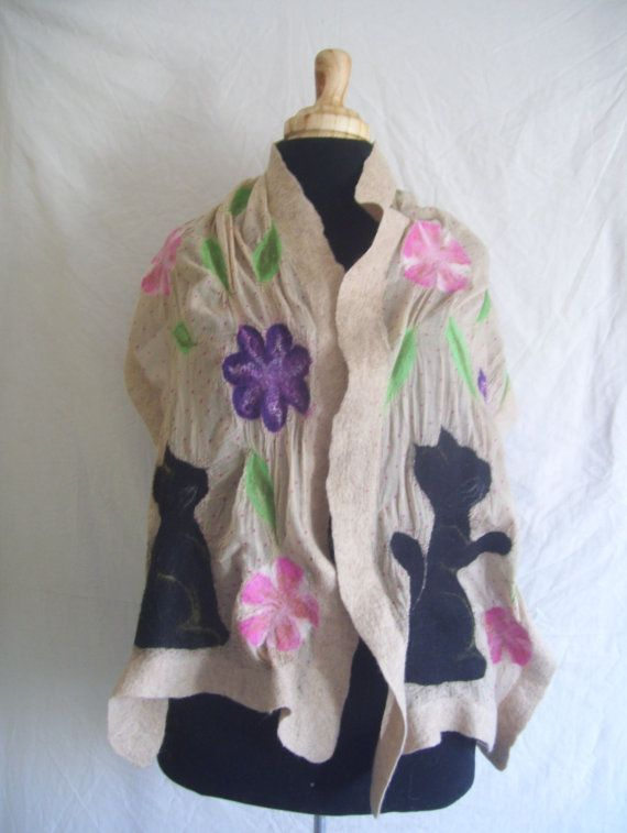 Nuno felt scarf handmade felt scarf Merino wool two by CleoDeLana
