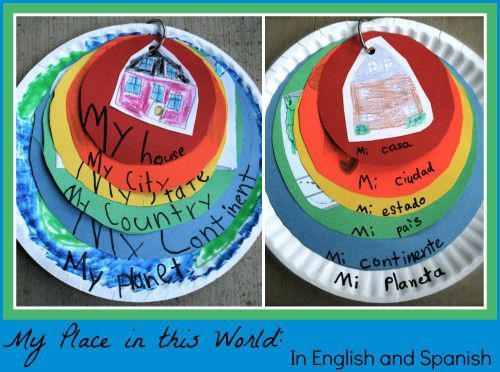Kids Geography: My Place in this World with English and Spanish titles. Love this simple way to teach kids geography, and how they fit into the wider, global community.