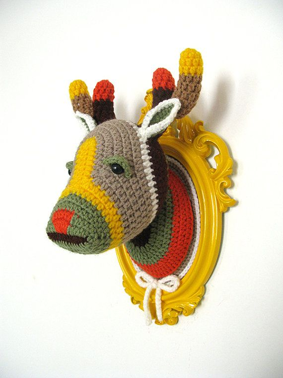 Crochet color block deer head in a bright yellow by ManafkaMina