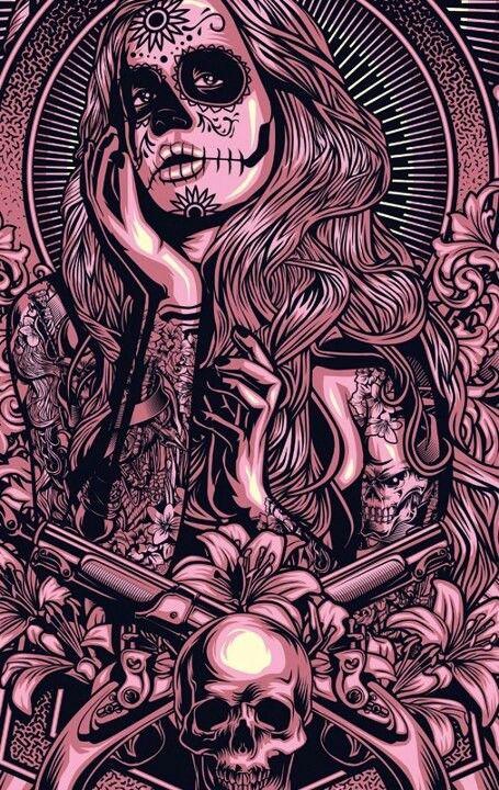 Day of the dead skull girl