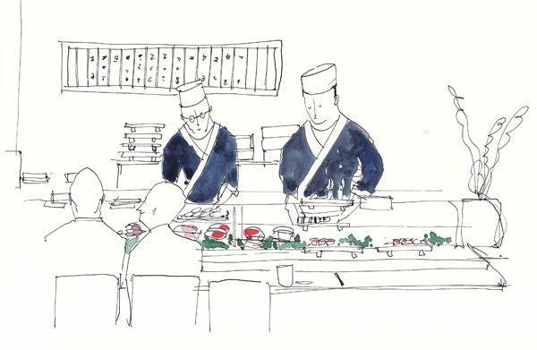 Sushi-Hiro, London   The sushi counter   Gattobravo Miao #illustration