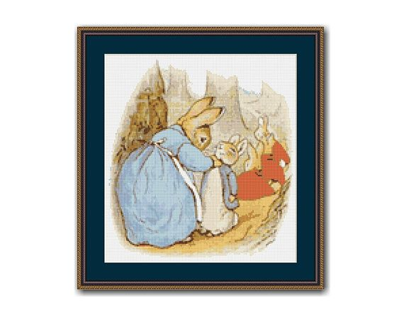 "The Tale of Peter Rabbit #3 Cross Stitch Chart / Pattern, Beatrix Potter, ""Now Run Along"", Instant Digital Download,  (TPR003)"