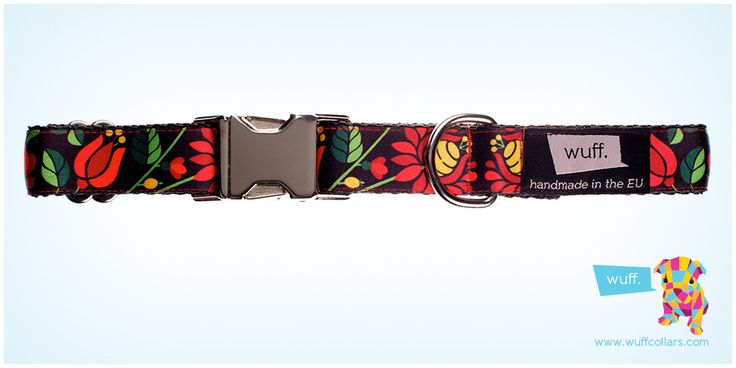 Wuff Hungarian Tulips Dog Collar -  The Kalocsa motifs are part of our most important heritage, but not only Hungarian dog breeds will look their best wearing our tulip collar! http://www.wuffcollars.com/en/item/Hungarian_Tulips_Collar-103 Item Code: 103