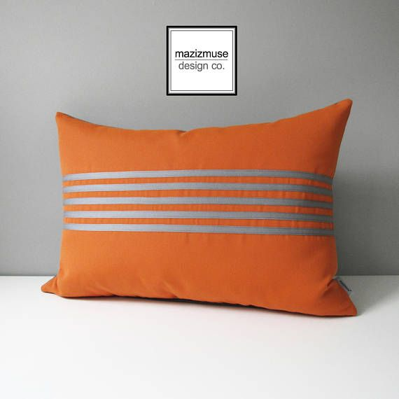 Align - part of the Eclipse Series of modern Sunbrella Pillows - exclusively at Mazizmuse.com! https://www.etsy.com/ca/listing/541062888/decorative-grey-orange-outdoor-pillow