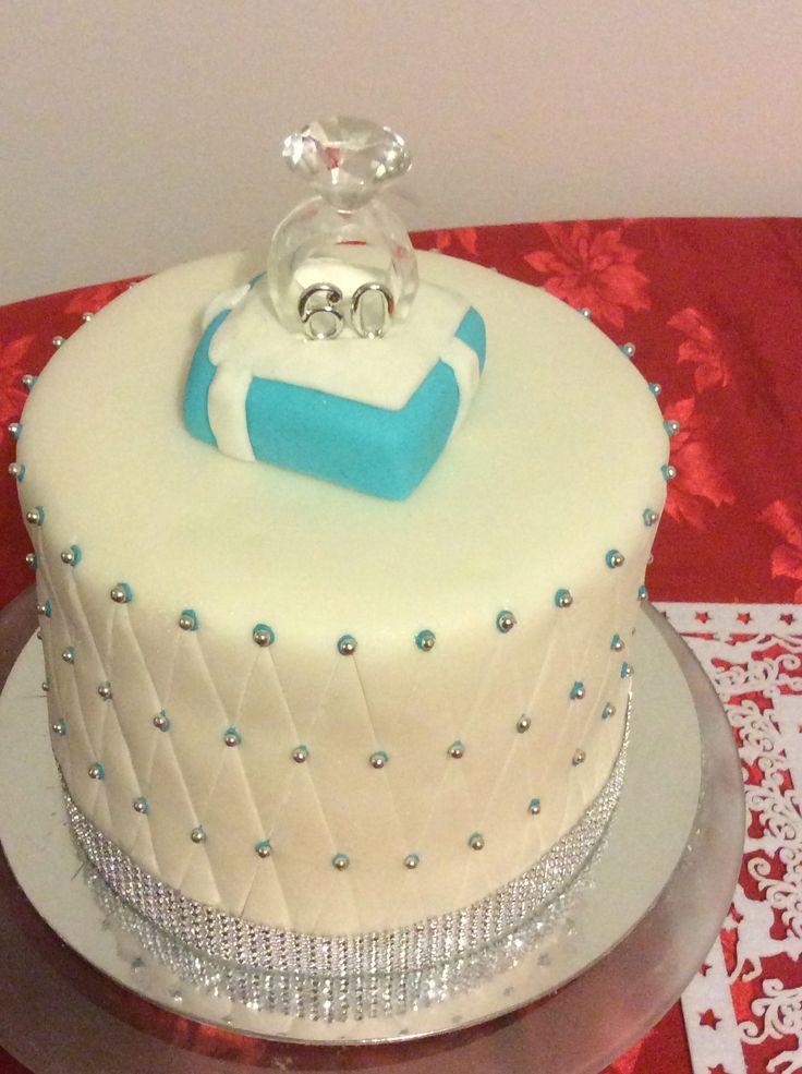 4cakes stacked. 2 chocolate & 2 vanilla. 60 th wedding anniversary.
