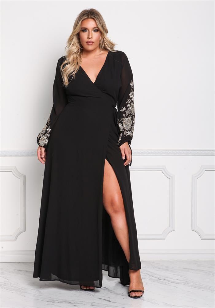 Plus Size Clothing | Plus Size Chiffon Embroidered Sleeve Wrap Maxi Dress | Debshops