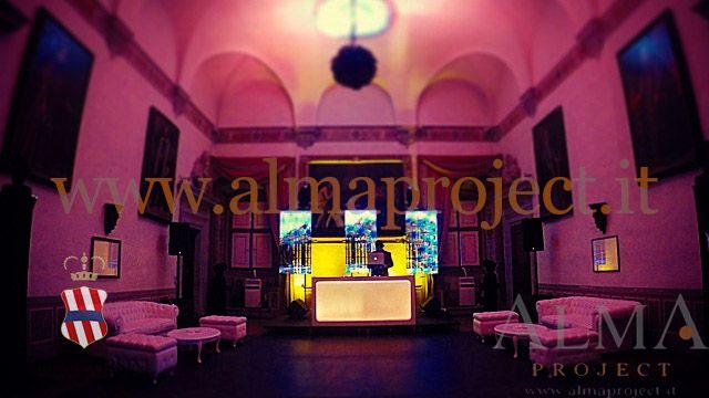 ALMA PROJECT @ Villa Corsini - Deejay setup - Eva light console - pink lighting - Chesterfield
