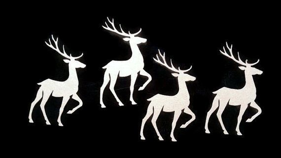 4pc Die cut Chipboard. Sizzix Prancing Deer. Christmas, Card making, DIY, Craft #Sizzix