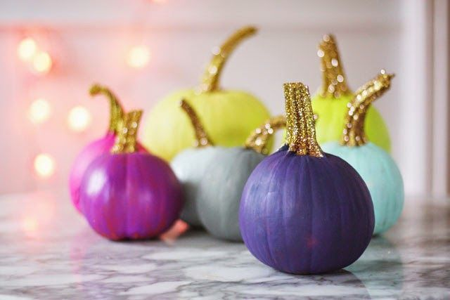 Painted Pumpkins with Glittered Stems - Aunt Peaches