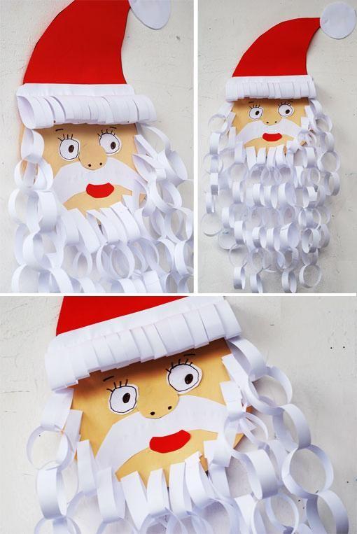 Papai Noel feito com argola de papel - Pra Gente Miúda
