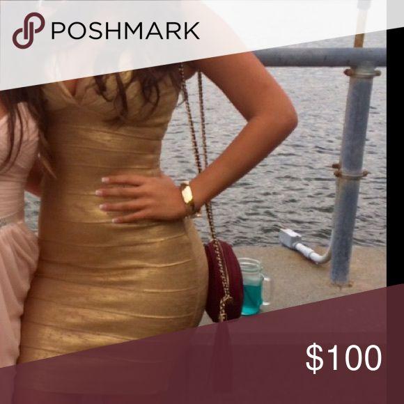 Gold bandage dress Metallic Gold tight bandage dress Dresses Mini