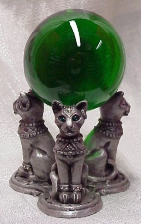Emerald Green Crystal Ball with Green Eyed  Cat Pedestal