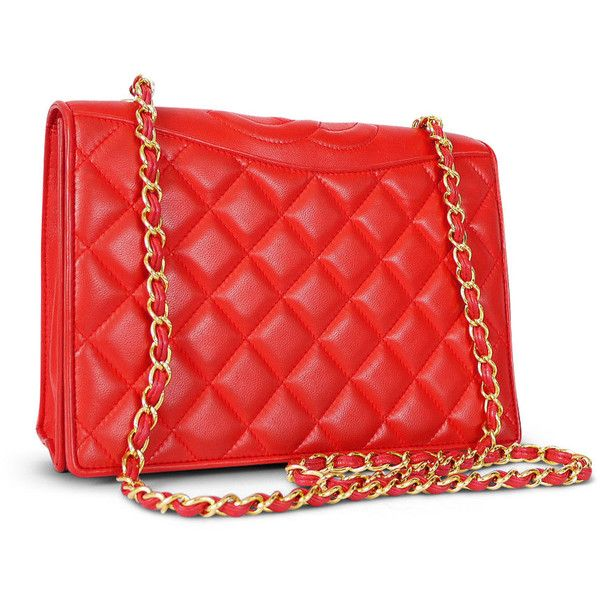 Pre-Owned Chanel Red Lamb Skin Shoulder Bag Vintage ($2,180) ❤ liked on Polyvore featuring bags, handbags, red, laukut, leather handbags, handbag purse, chanel purse, red leather purse and vintage leather purse