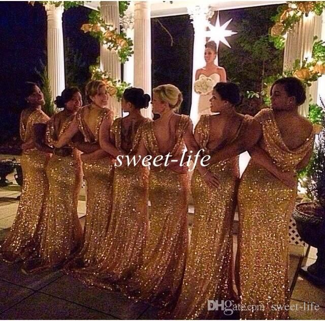 New Design 2015 Mermaid Bridesmaid Dresses Gold Bling Bling Sequins Backless Short Sleeve Evening Gowns Plus Size Prom Maid of Honor Dresses Online with $82.85/Piece on Sweet-life's Store | DHgate.com